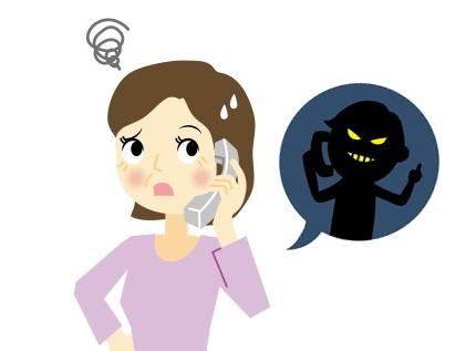 悪徳電話を受ける女性のイラスト