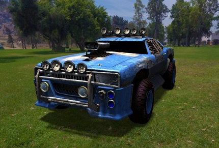 青いカスタム車