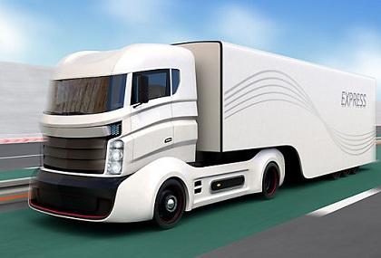 高速道路を走る白いトラック