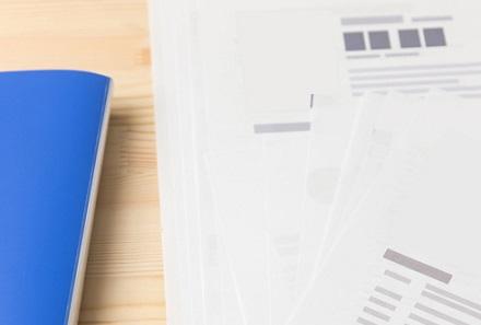 青いファイルと書類