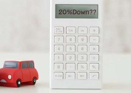 計算機と赤い車