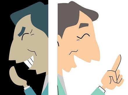 表と裏の男性顔