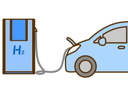 車の水素補充のイラスト
