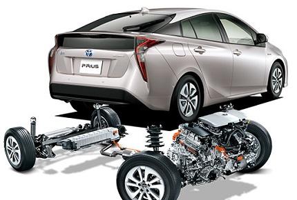プリウス後部とエンジンバッテリーシステム
