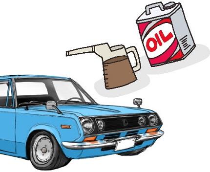車とオイルのイラスト
