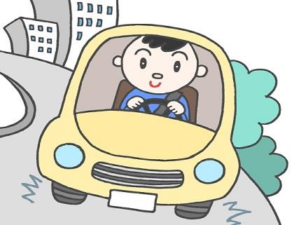車を運転する男性のイラスト