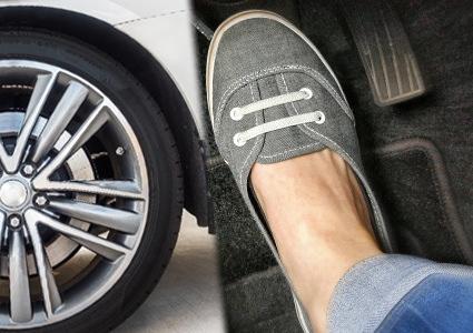 ブレーキを踏む足とタイヤ