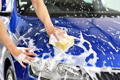 車をカーシャンプーで洗う