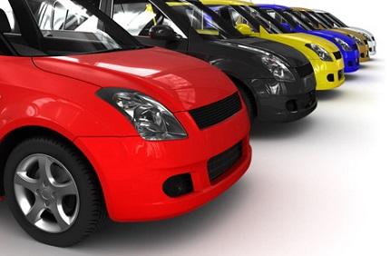 いろいろな色の車