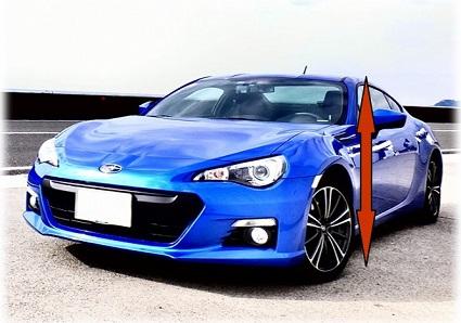 青いスポーツカーと矢印
