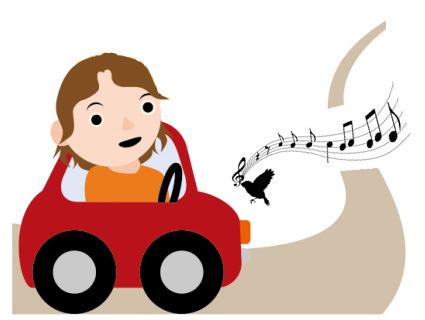 音符道路を走る車のイラスト