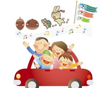 車に乗る家族と音符イラスト