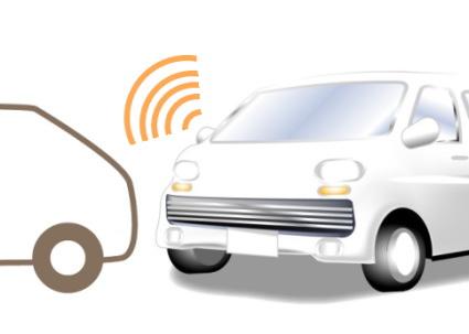 白い車とドライブアシストカー
