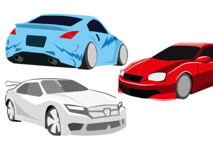 3台のスポーツカーのイラスト