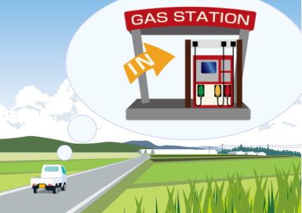 ガソリンスタンドを探す軽トラック