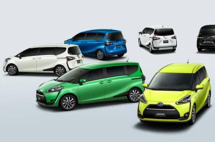 いろいろな色のトヨタ車シエンタ