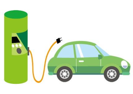 電気自動車の充電イラスト