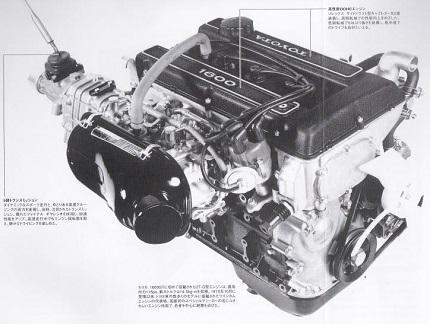 1600GTに積まれていた2T-G型エンジン
