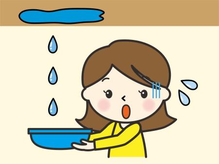 雨漏りで困っている女性